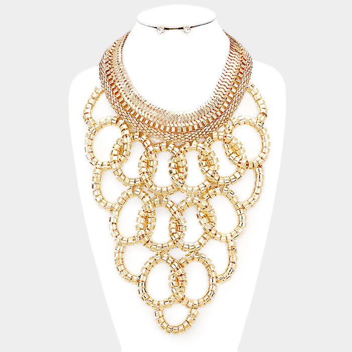 Gold Circle Statement Necklace Set