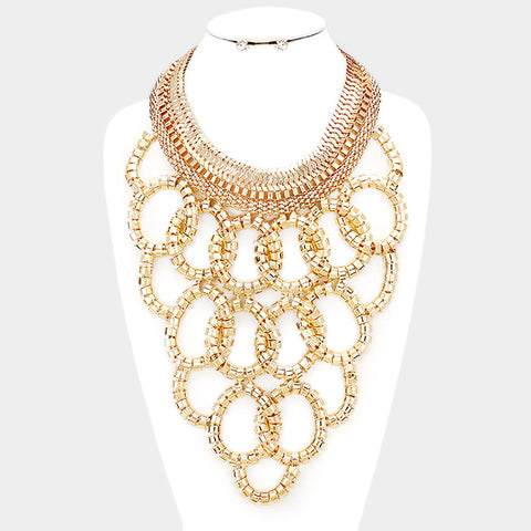 LUXE-Gold Circle Statement Necklace Set