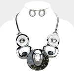 Black Hematite Circle Necklace Set