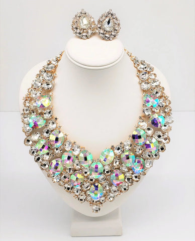 LUXE-Crystal Bib Necklace Set-CLIP