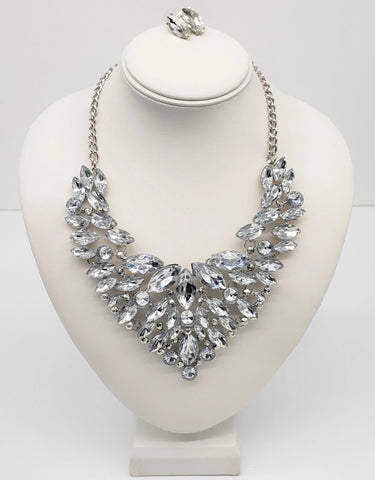 Crystal Bib Necklace Set