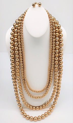 Gold Pearl Multistrand Necklace Set