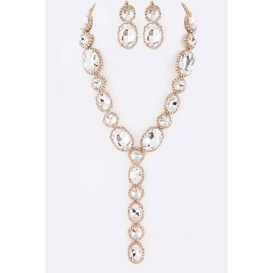 Gold Crystal Drop Necklace Set