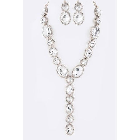 Crystal Drop Necklace Set-Silver