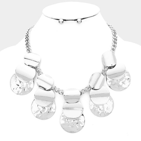 Silver Multidisc Necklace Set