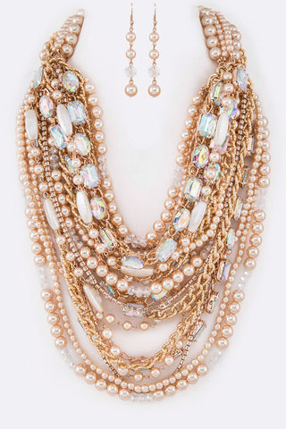 LUXE-Pearl Crystal Accent Multistrand Necklace Set