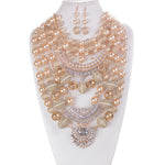 LUXE-Beaded Pearl Amulet Necklace Set