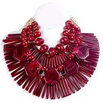 LUXE-Burgundy Multichip Necklace Set