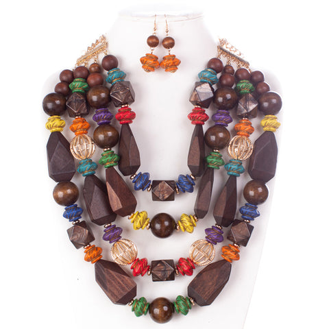 LUXE-Wooden Multibeaded Necklace Set