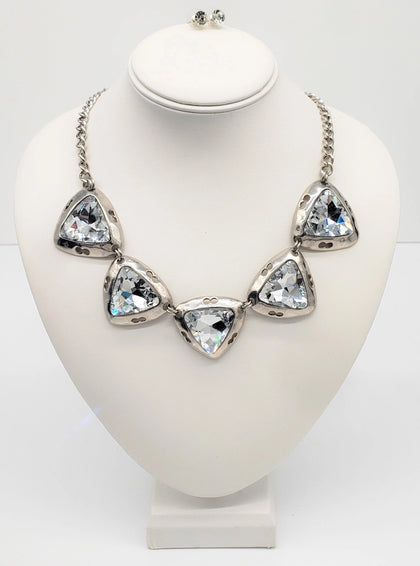 Silver Stone Accent Triangle Necklace Set