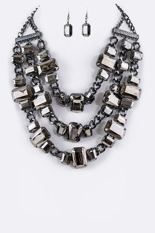 Hematite Bib Necklace Set