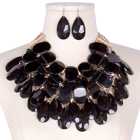 LUXE-Black Acrylic Multichip Necklace Set