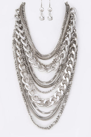 Silver Link Multistrand Necklace Set