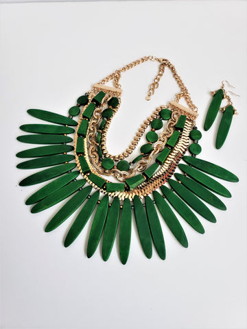 Green Multichip Necklace Set