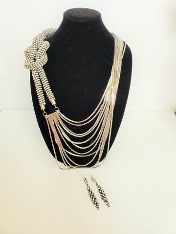 LUXE-Rhinestone Knot Multistrand Necklace Set