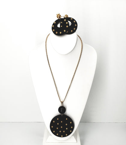 Black Gold Studded Disc Necklace Set-CLIP