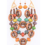 LUXE-Wooden Multibeaded Ring Necklace Set