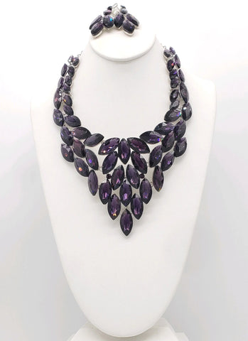 Purple Crystal Necklace Set