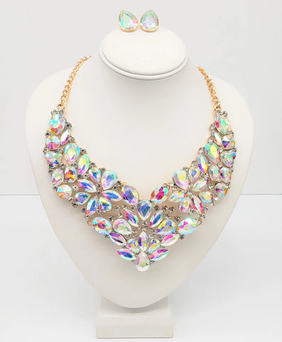 AB Crystal Accent Necklace Set