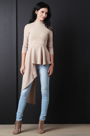 Natural Asymmetrical Peplum Top