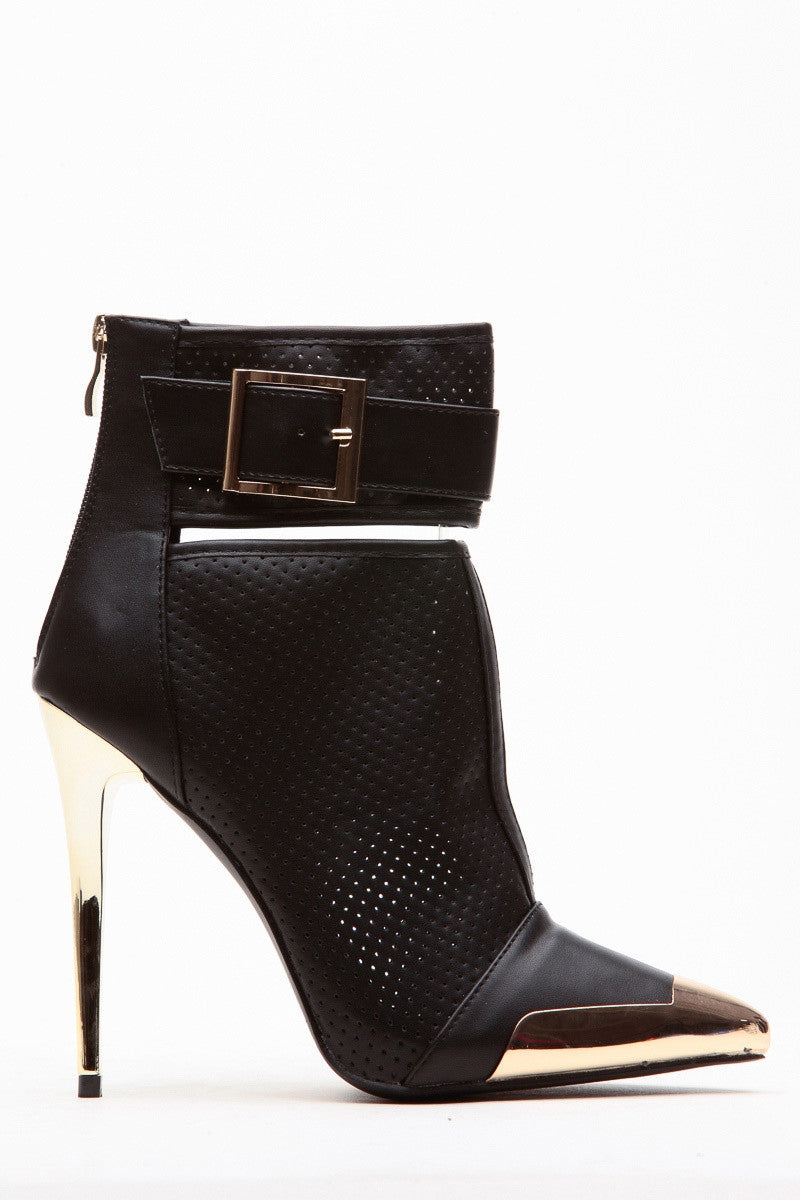 Black Preforated Gold Trim Boot