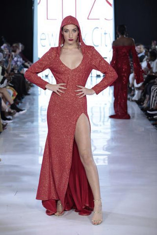 SIREN - Red Sparkle Knit Hooded Gown