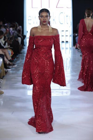 SIREN - Red Sequin Accent Tapestry Gown