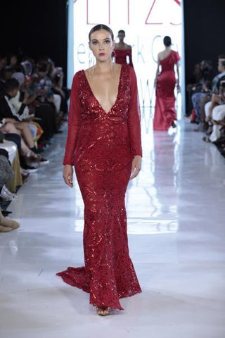 SIREN - Red Sequin Accent Tapestry Mesh Sleeved Gown