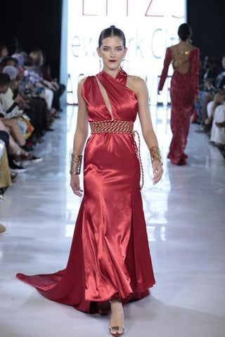 SIREN - Red Satin Front Slit Belted Gown