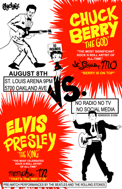 Chuck Berry vs. Elvis Presley print