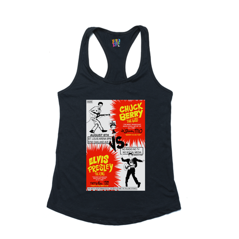 Berry vs. Elvis black ladies tank