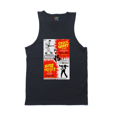 Chuck Berry vs. Elvis Presley black tank
