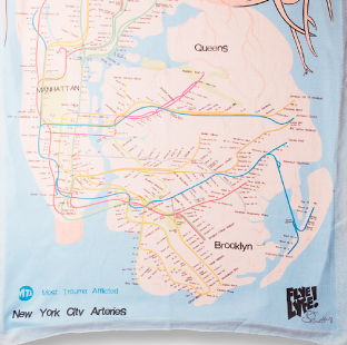 New York City Arteries (Most Trauma Afflicted) Blanket-Flag-Tapestry