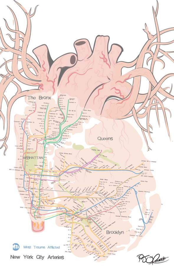 New York City Arteries (Most Trauma Afflicted) print