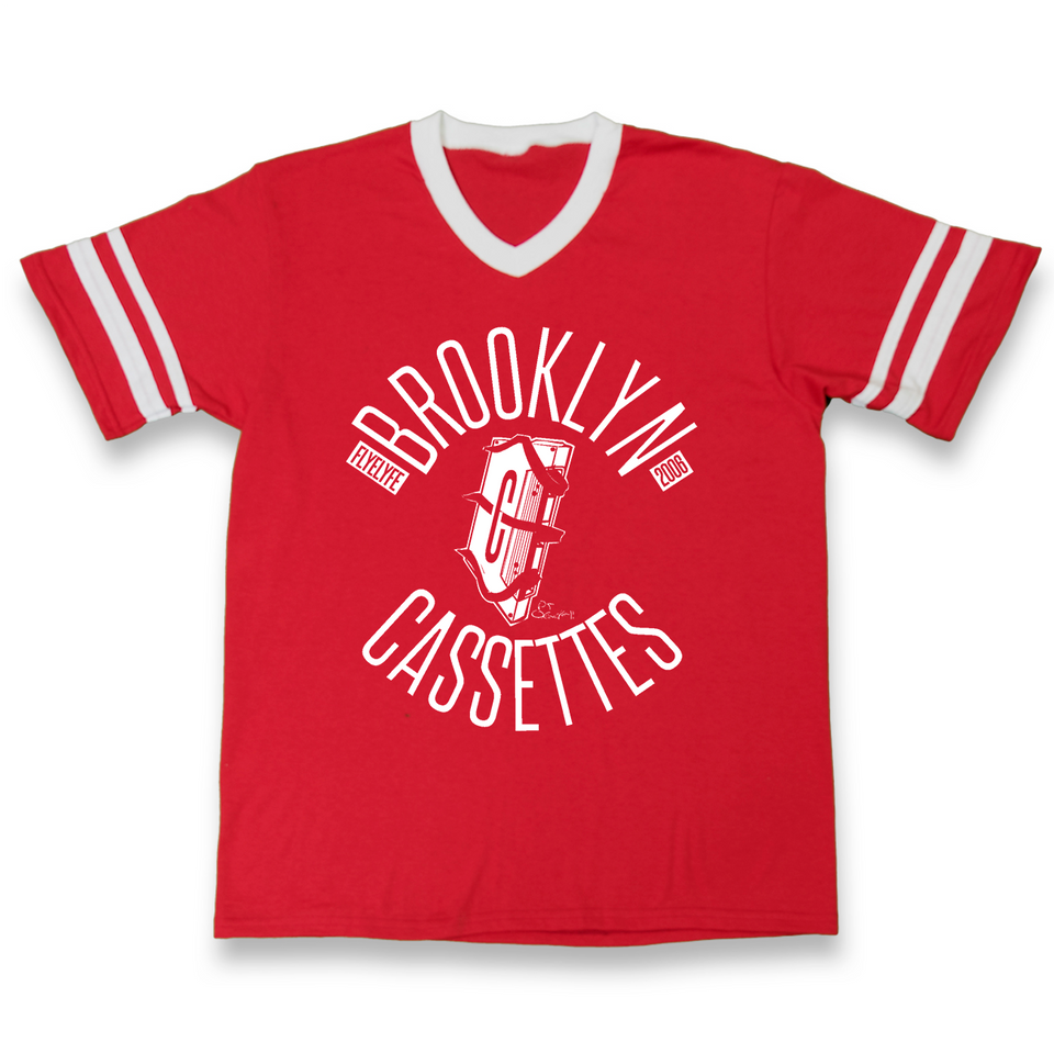 Brooklyn Cassettes red striped tee