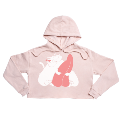 Cat's got your Tongue Premium pink crop hoody