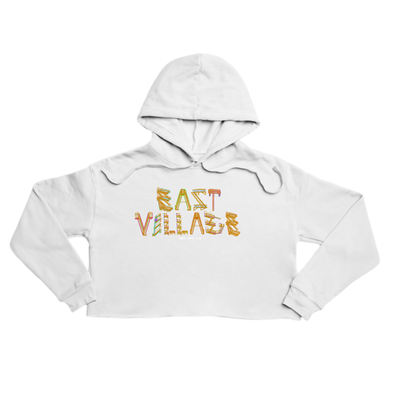 East Village Premium white crop hoody