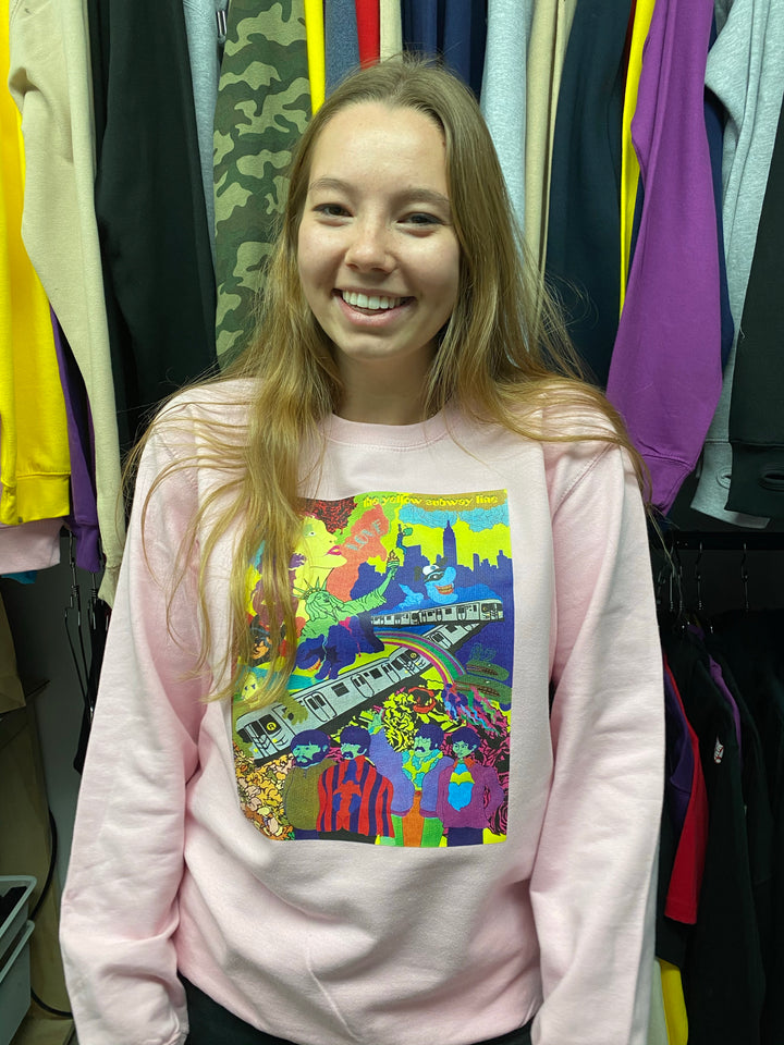The Yellow Subway Line pink crewneck