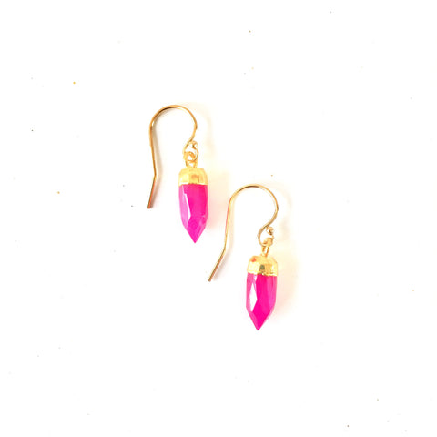 Ginger Earrings - Hot Pink Chalcedony