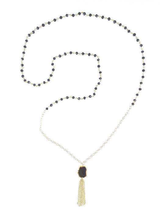 Lily Necklace - Black Garnet