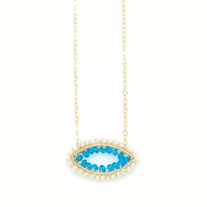 Evil Eye Necklace - Pearl & Teal Apatite