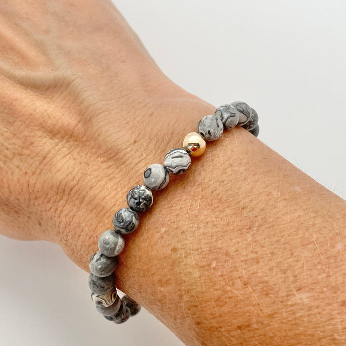 Becca Stones Bracelet - Grey Dragon Vein Agate 6mm