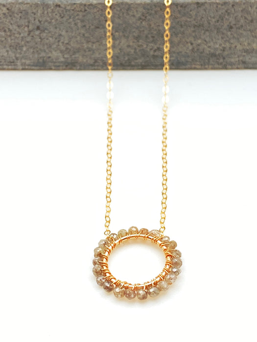 April Birthstone - Champagne Diamonds - Circle Necklace
