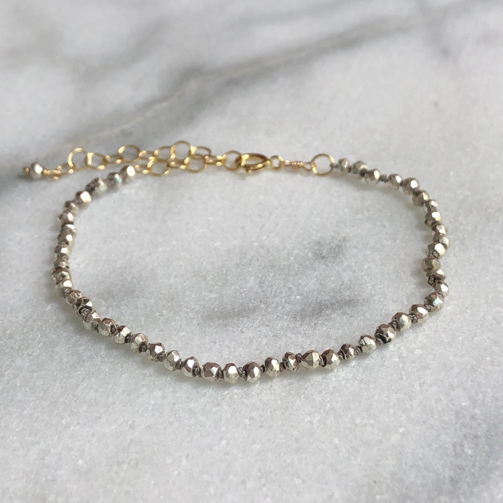 Silk & Stones Bracelet - Silver Plated Pyrite