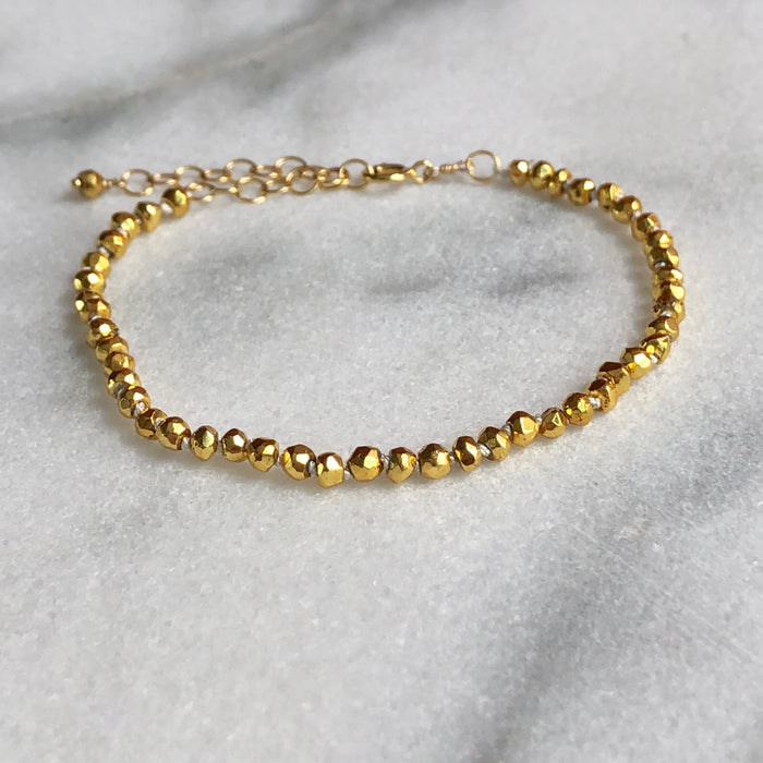 Silk & Stones Bracelet - Gold Plated Pyrite
