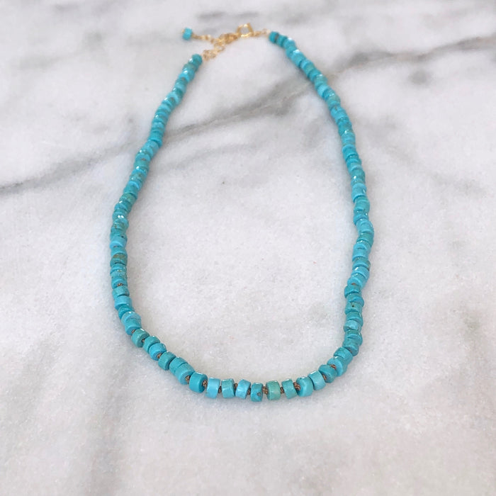 Silk & Stones Necklace - Turquoise (Heishi)