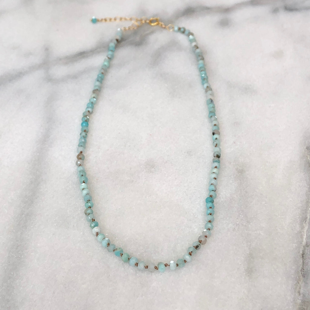 Silk & Stones Necklace - Peruvian Amazonite