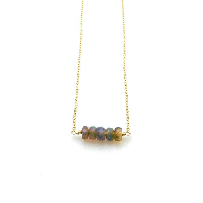 October Birthstone BLACK OPAL - Twig Necklace