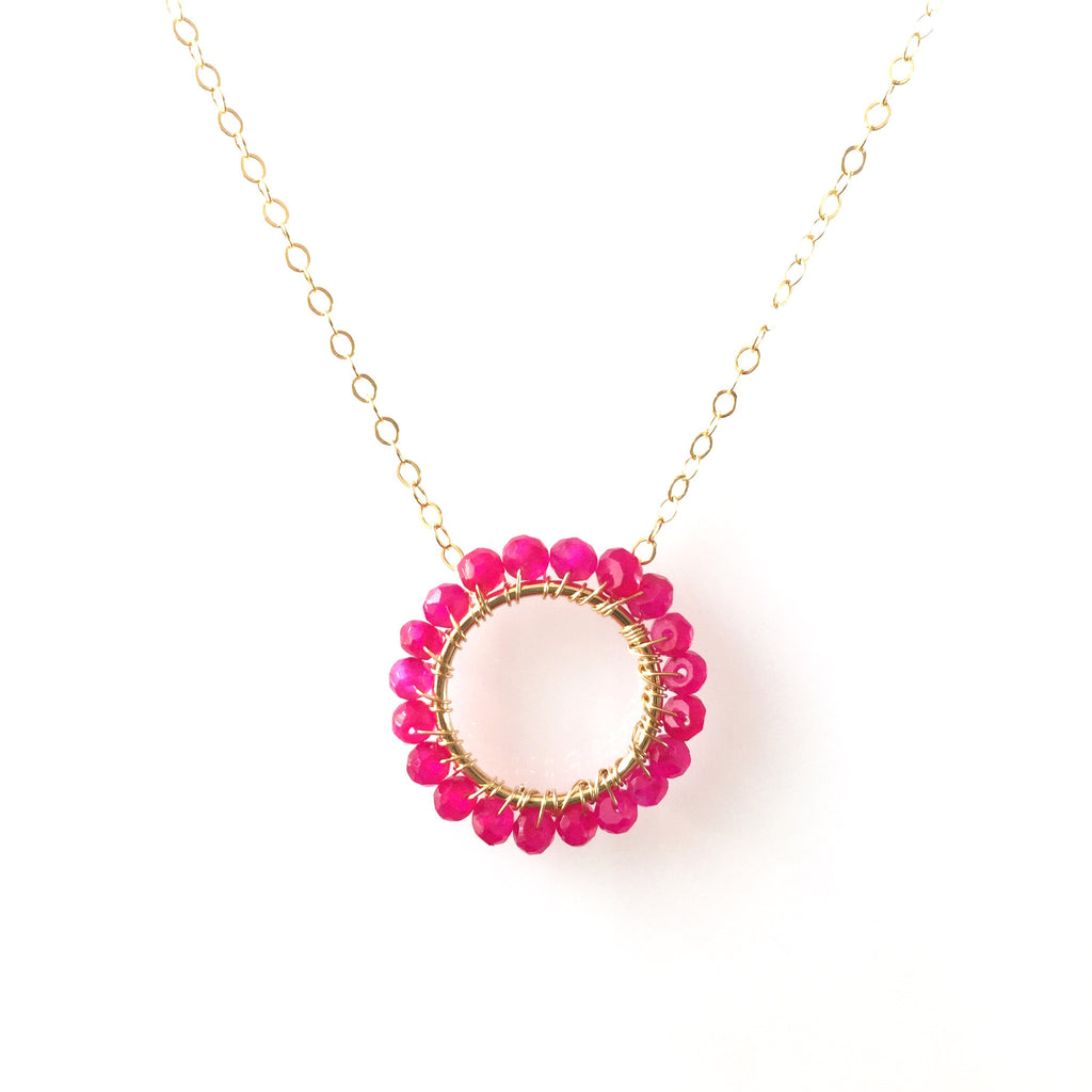 Hot Pink Chalcedony Circle