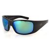 Montana Fishing Sunglasses, Black Frame, Polarized Green Mirror Lenses